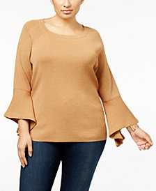 Anna Sui Loves I.N.C. Plus Size Bell-Sleeve Sweater, Created for Macy's