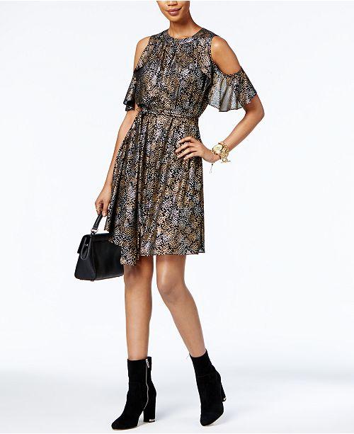 3cb2d4f850b Michael Kors Metallic Cold-Shoulder Dress   Reviews - Dresses ...