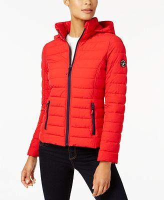 Nautica Stretch Hooded Packable Puffer Coat Coats