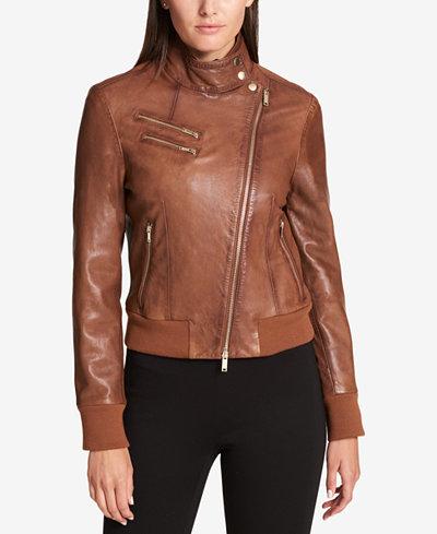DKNY Leather Knit-Trim Bomber Jacket