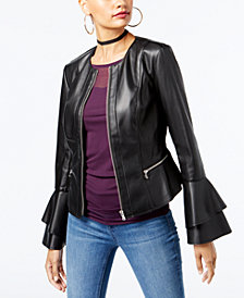 I.N.C. Ruffle-Sleeve Faux-Leather Jacket, Created for Macy's