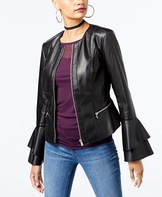 INC International Concepts Ruffle-Sleeve Faux-Leather Jacket, Created for Macy's