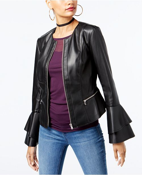 fb08215151d ... INC International Concepts I.N.C. Petite Ruffle-Sleeve Faux-Leather  Jacket