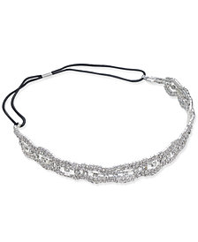 I.N.C. Silver-Tone Scalloped Crystal Headband, Created for Macy's
