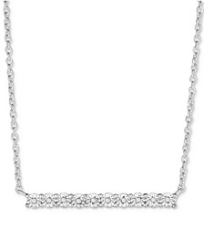 """Diamond Miracle Plate Bar 18-1/8"""" Pendant Necklace (1/10 ct. t.w.) in 14k Gold-Plated Sterling Silver, Rose or Yellow Gold"""