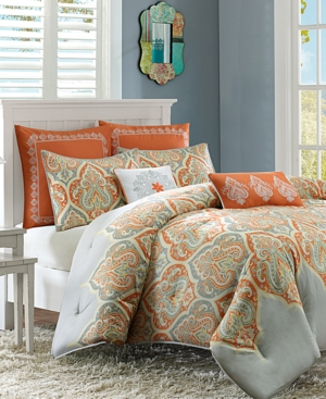 Madison Park Nisha Cotton Sateen 7Pc FullQueen Comforter Set Bedding