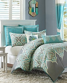 Nisha Cotton Sateen 7-Pc. Full/Queen Comforter Set