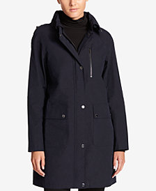 DKNY Hooded Water-Resistant Raincoat