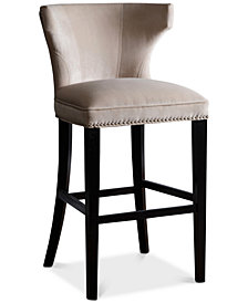Corinne Velvet Bar Stool, Quick Ship