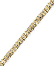 Diamond Accent Bar Link Bracelet in Silver-Plate and Gold Flash