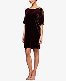 Alex Evenings Velvet Embellished Split-Sleeve Dress