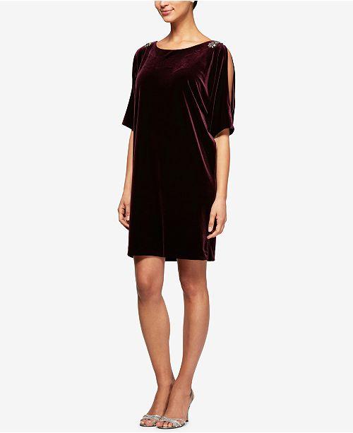 Alex Evenings Velvet Embellished Split-Sleeve Dress