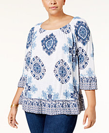 I.N.C. Plus Size Medallion-Print Ruffled Top, Created for Macy's