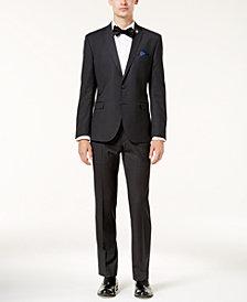 Nick Graham Men's Slim-Fit Stretch Black Grid Suit