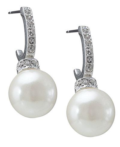 Carolee Earrings, Pave Crystal Hoop and Pearl Drop