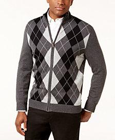Club Room Men's Argyle Full-Zip Pima Cotton Sweater, Created for Macy's