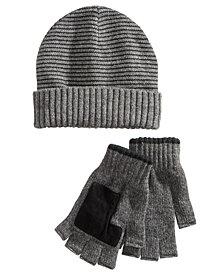 Ryan Seacrest Distinction™ Men's Striped Beanie & Gloves Set