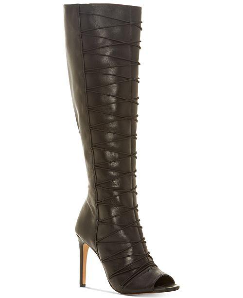 Vince Camuto Kentra Peep Toe Tall Boot VIdDw3Wfzm