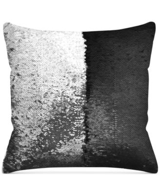 "Mermaid Colorblocked Silver & Black Sequin 18"" Square Decorative Pillow"