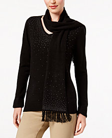 Karen Scott Luxsoft Studded Detachable-Scarf Sweater, Created for Macy's