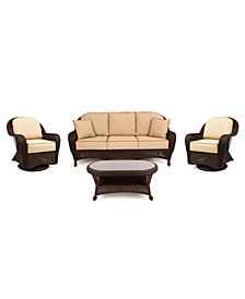 Monterey Outdoor Wicker 4-Pc. Seating Set with Sunbrella® Cushions  (1 Sofa, 2 Swivel Gliders and 1 Coffee Table), Created for Macy's