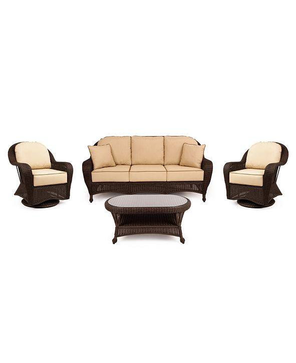Furniture Monterey Outdoor Wicker 4-Pc. Seating Set with Sunbrella® Cushions  (1 Sofa, 2 Swivel Gliders and 1 Coffee Table), Created for Macy's