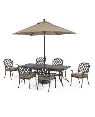 Grove Hill Outdoor Cast Aluminum 7 Pc Dining Set 84 X 38 Table And 6 Chairs Created For Macy S