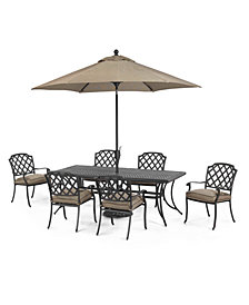 "CLOSEOUT! Grove Hill Outdoor Cast Aluminum 7-Pc. Dining Set (84"" x 38"" Dining Table and 6 Dining Chairs), Created for Macy's"