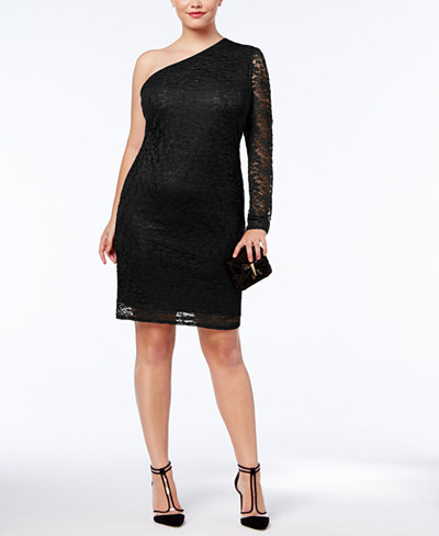 Soprano Trendy Plus Size One-Shoulder Lace Dress - Dresses - Plus ...