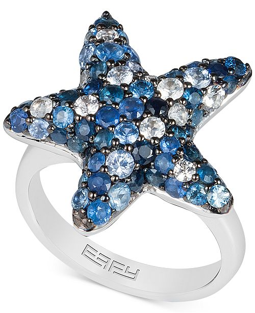 EFFY Collection EFFY® Sapphire Starfish Ring (3 ct. t.w.) in Sterling Silver