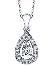 Diamond Orbital Teardrop Pendant Necklace (1/4 ct. t.w.) in 14k White Gold