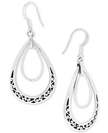 Filigree Double Teardrop Drop Earrings in Sterling Silver