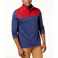 Club Room Men's Colorblocked Water Repellent Fleece Pullover (Maraschino or Siro Ivy League)