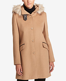 DKNY Faux-Fur-Trim Hooded Wool-Cashmere Blend Coat