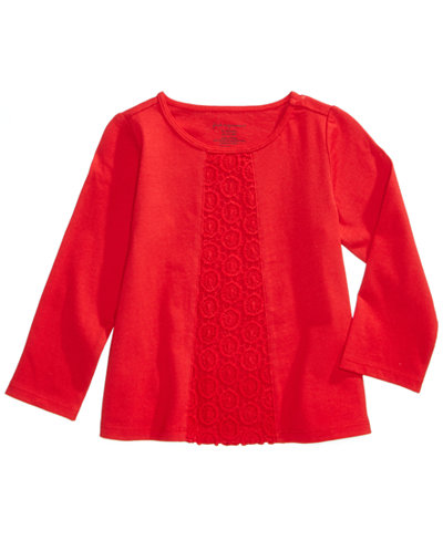 3444f43aa First Impressions Crochet-Trim Cotton T-Shirt, Baby Girls, Created ...