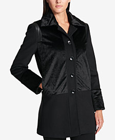 DKNY Faux-Fur-Panel Wool-Blend Walker Coat