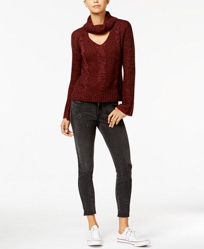 American Rag Juniors' Choker Sweater & Skinny Jeans, Created for Macy's