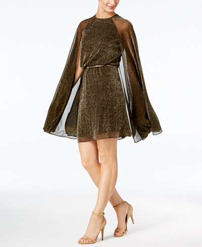 Calvin Klein Belted Metallic Cape Dress