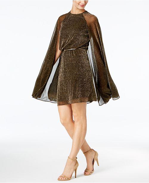 Calvin Klein Belted Metallic Cape Dress 1 Reviews Main Image