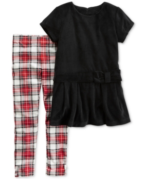 Carters 2Pc Velour Tunic  Plaid Leggings Set Little Girls (26X)  Big Girls (716)
