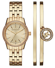Michael Kors Women's Ritz Gold-Tone Stainless Steel Bracelet Watch 33mm Gift Set