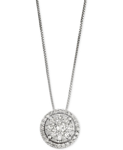 Diamond Cluster Halo Pendant Necklace (1/2 ct. t.w.) set in 14k White Gold