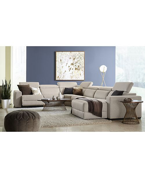 Nevio Leather & Fabric Power Reclining Sectional Sofa with Articulating  Headrests Collection, Created for Macy\'s