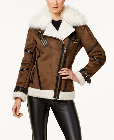 MICHAEL Michael Kors Faux-Shearling Coat - Coats - Women - Macy's