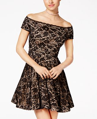 B Darlin Juniors Off The Shoulder Lace Skater Dress Dresses