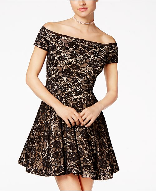 6eb107205fa B Darlin Juniors  Off-The-Shoulder Lace Skater Dress   Reviews ...