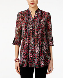 Style & Co Petite Printed Pleated-Bib Tunic, Created for Macy's