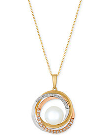 Le Vian® Cultured Freshwater Pearl (10mm) & Diamond (1/3 ct. t.w.) Pendant Necklace in 14k Gold, White Gold & Rose Gold