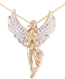 SIS by Simone I. Smith Crystal Angel Pendant Necklace in 18k Gold over Silver