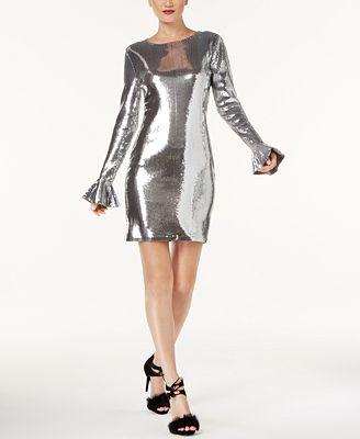 Michael Kors Sequined Flounce-Cuff Dress, Regular & Petite Sizes